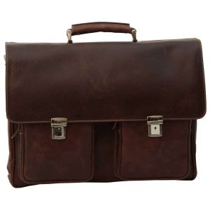 Oiled Calfskin Leather Briefcase with two clasp closure - Chestnut