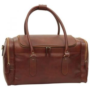 Round Metal Zip Leather Travel Bag - Brown