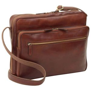 Large leather bag with zip closures - Brown