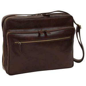Large leather bag with zip closures - Dark Brown