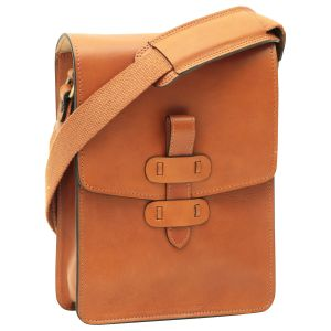 Cowhide leather messenger bag - Brown Colonial