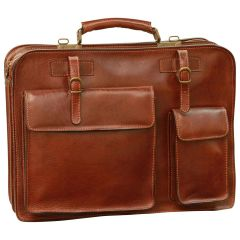 Leather Briefcase with belt straps - Brown