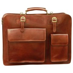 Leather Briefcase with front pockets (magnetic lock) - Brown