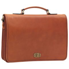 Cowhide Leather Full length Flap Briefcase - Brown Colonial