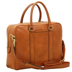 Soft Calfskin Leather Briefcase - Gold