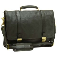 Soft Calfskin Leather Briefcase with shoulder strap - Black