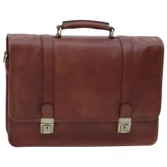 Soft Calfskin Leather Briefcase with shoulder strap - Brown