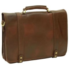 Calfskin Nappa leather briefcase - Dark Brown