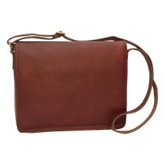 Full grain calfskin shoulder bag . Brown