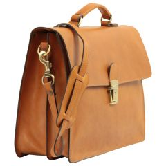 Leather Laptop Briefcase - Brown Colonial