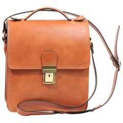 Leather Cross Body Satchel Bag - Brown Colonial