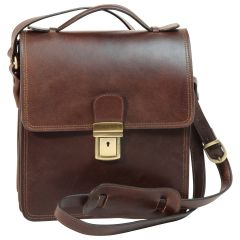 Leather Cross Body Satchel Bag - Dark Brown