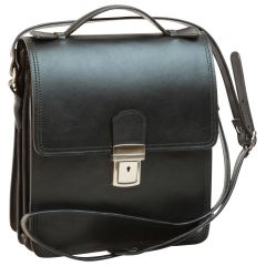 Leather Cross Body Satchel Bag - Black