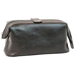 Beauty case in pelle. Nero