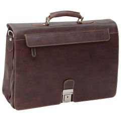 Oiled Calfskin Leather Briefcase with frontal zip pocket - Dark Brown