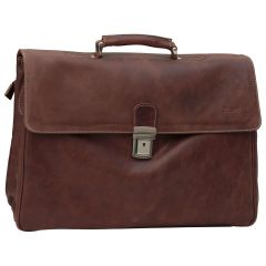 Oiled Calfskin Leather Briefcase with key closure - Chestnut