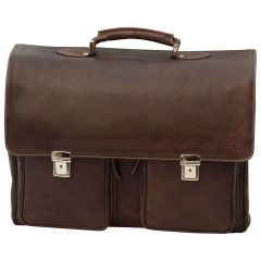 Oiled Calfskin Leather Briefcase with two clasp closure - Dark Brown