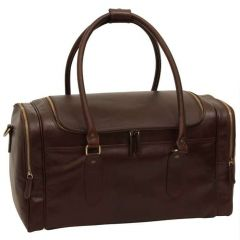 Round Metal Zip Leather Travel Bag - Dark Brown