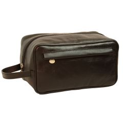 Full-grain calfskin leather beauty case- Black 078989NE
