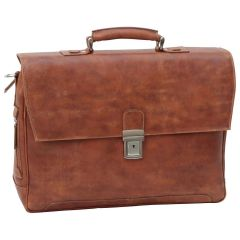 Leather Briefcase with back pocket - Brown Colonial