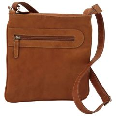 Leather cross body bag with zip pocket - Brown Colonial