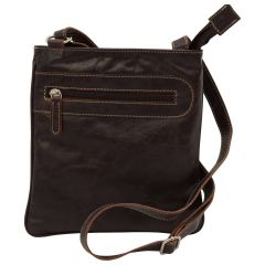 Leather cross body bag with zip pocket - Dark Brown