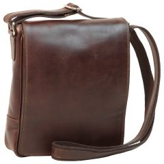 Leather Satchel Bag for I-Pad - Dark Brown