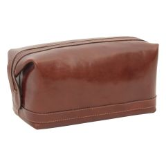 Calfskin Leather Beauty Case - Brown