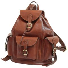 Leather backpack with 3 exterior pockets - Brown