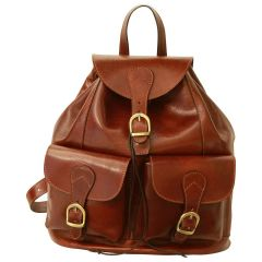 Leather backpack with 2 exterior pockets - Brown