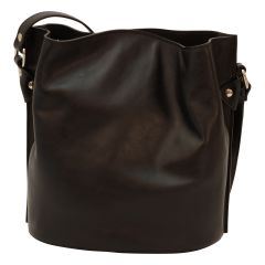 Cowhide leather shoulder bag - Black