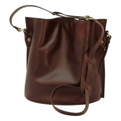 Cowhide leather shoulder bag - Dark Brown