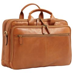 Italian Leather Briefcase - Brown Colonial