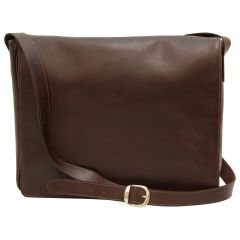 Cowhide leather messenger bag - Dark Brown