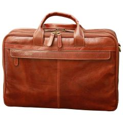 Esclusiva II Leather Laptop Briefcase - Brown