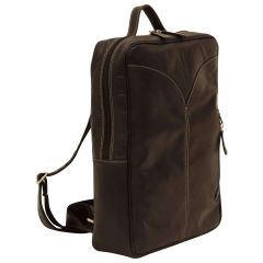 Oiled Calfskin Leather Laptop backpack - Black