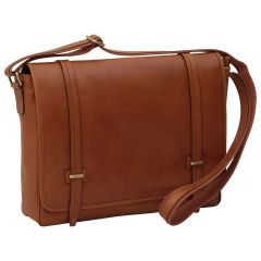 Large leather bag with magnetic closure - Brown Colonial