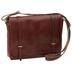 Large leather bag with magnetic closure - Brown