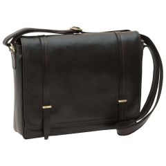 Large leather bag with magnetic closure - Black