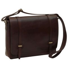 Large leather bag with magnetic closure - Dark Brown