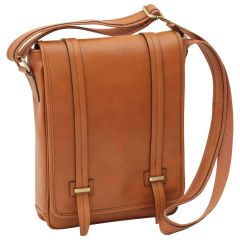Medium leather bag with double magnetic closure - Brown Colonial