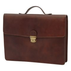Business leather briefcase dark brown
