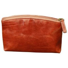 Italian leather beauty case - Brown