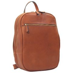 Leather backpack with exterior zip pockets - Brown Colonial