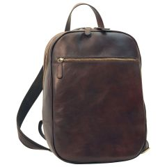 Leather backpack with exterior zip pockets - Dark Brown
