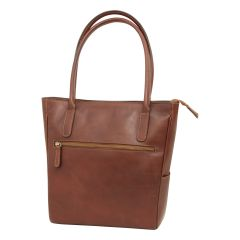 Leather hand bag - brown