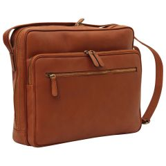 Messenger in pelle con chiusura a zip (Grande). Marrone Coloniale