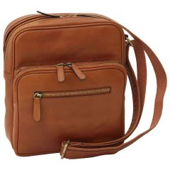 Messenger in pelle con chiusura a zip (Piccola). Marrone Coloniale