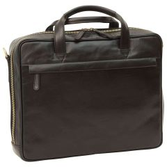 Leather Briefcase with zip closure - Black