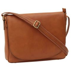 Leather laptop messenger - Brown Colonial